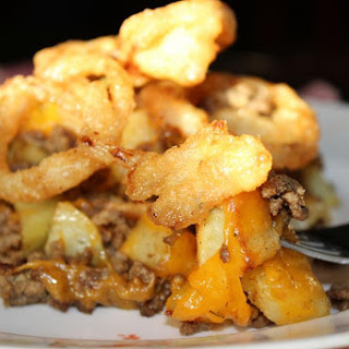 Cheeseburger Hash with Crispy Onions.