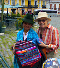 Photo: Quito:  Sheila concludes successful negotiation with street vendor for scarf