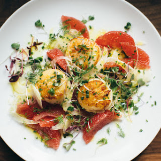 Seared Scallops, Shaved Fennel, and Grapefruit