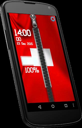 Switzerland flag zipper lock