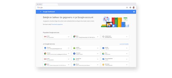 Gegevensdashboard in een Google Chrome-browser