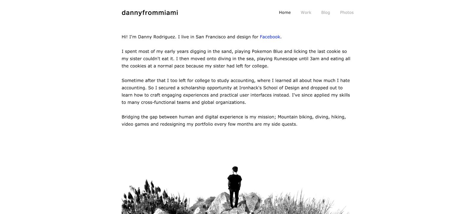 Screenshot of dannyfrommiami.co, Daneiel Rodriguez's UX Design portfolio.
