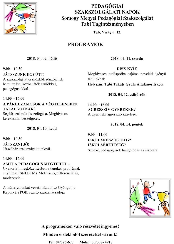 Tabi Tagintézmény programok