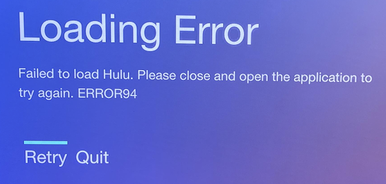 "[Solved] How to Fix ""Failed to load Hulu"" Loading ERROR94"