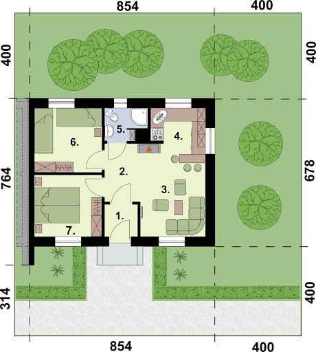 Lublana 2 C dom mieszkalny (zabudowa szeregowa) - Rzut parteru - segment C
