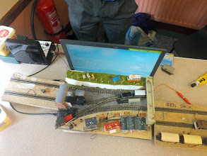Photo: 015 An aerial view showing the simple track plan and train cassettes serving The Seaside Layout .