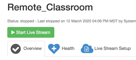 Start Live Remote Learning Stream in Wowza Streaming Cloud GUI Portal