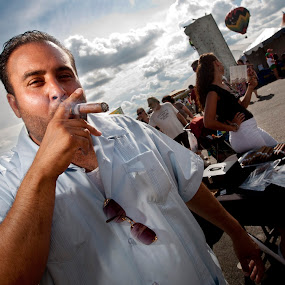 Cigar Vendor by Bill  Brokaw - People Portraits of Men ( smoking, cigars, men, portraits, brokaw )