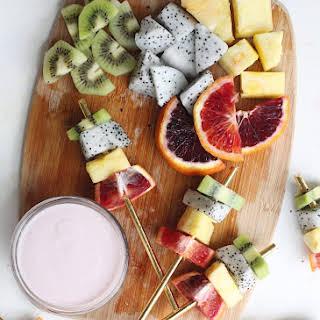 Vibrant Fruit Kabobs with Greek Yogurt Dip.