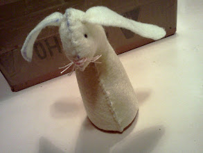 Photo: felt Easter basket bunny   I'm not too happy with his face, he looks too mousy. But this is only the 'prototype' and there is much room for tweaking. This is also my first time working with felt.