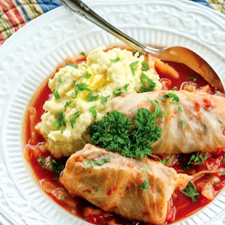 Stuffed Cabbage Rolls with Tomato Sauce.