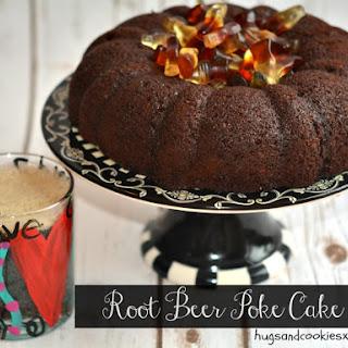 Root Beer Poke Cake With Root Beer Glaze.