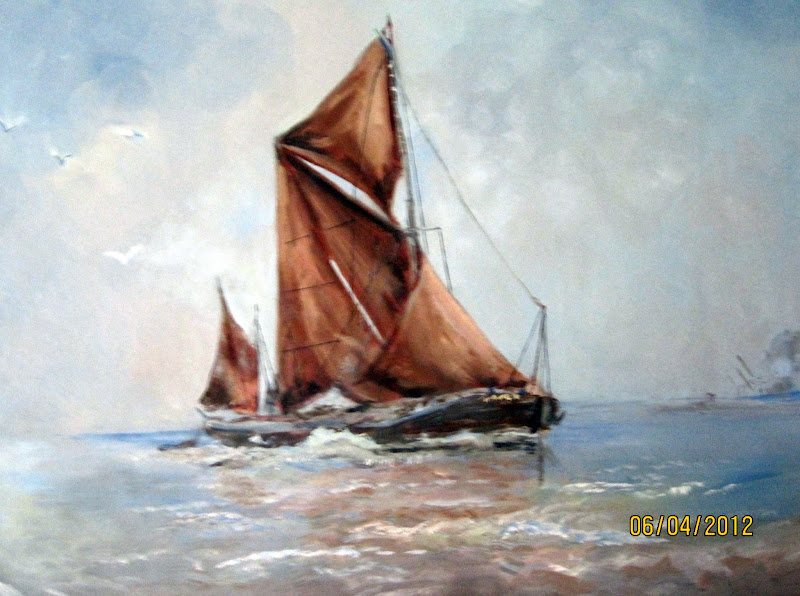 Photo: #BreakfastArtClub  #WaterscapeArtWednesday  Thames sailing barge. (Oil)