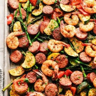 Cajun Shrimp and Sausage Vegetable Sheet Pan Recipe