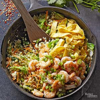 "Spicy Shrimp Fried Cauliflower ""Rice"""