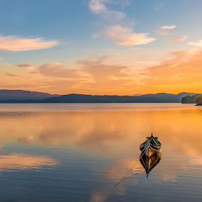 by Grete Øiamo - Landscapes Sunsets & Sunrises ( water, sunset, landscape, boat )