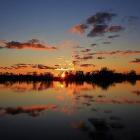 Orange Crush by Kathy Woods Booth - Landscapes Sunsets & Sunrises ( mirror, sunset, creek, reflections, dusk )