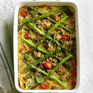 Farro, Cherry Tomato, and Asparagus Casserole.