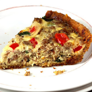 Sausage and Veggie Quiche With Gluten-free Almond Meal Crust.