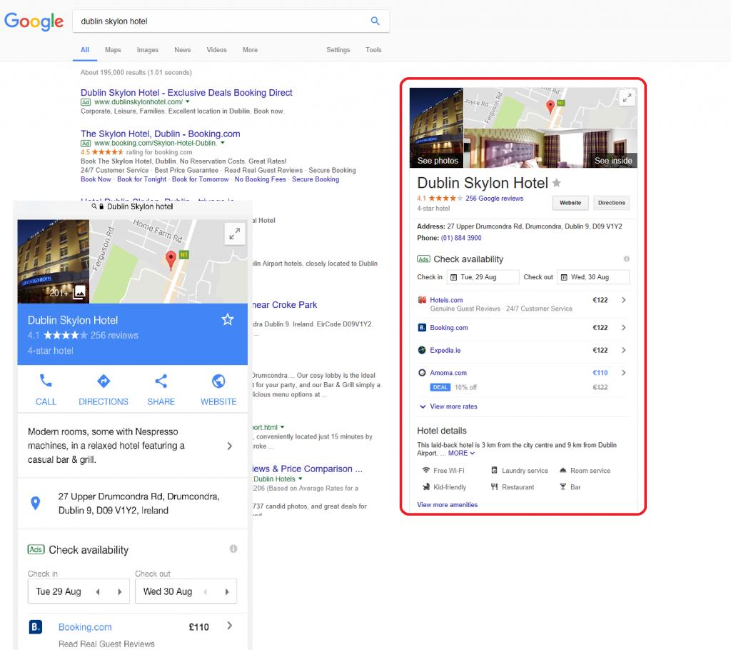 panel de Dublin Skylon Hotel Google Mi Negocio