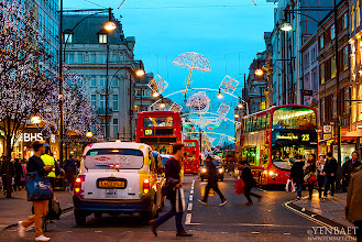 Photo: Christmas in Oxford Street - London, U.K.  The Christmas frenzy hits the popular shopping streets of London, here seen on a busy Friday night in Oxford Street.  #OxfordStreet #Christmas   #London   #England   #UK   #GreatBritain     #Travel   #Photography   © Yen Baet - www.YenBaet.com. All Rights Reserved. Join me on Facebook at www.facebook.com/YenBaetPhotography.