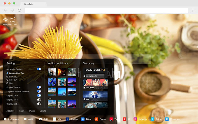 Italian Popular food HD New tab page Theme