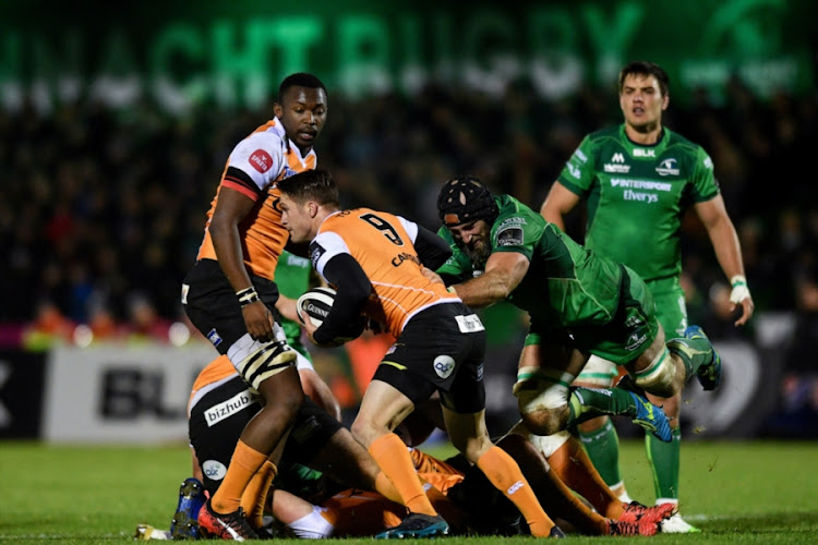 Tian Meyer of Cheetahs is tackled by John Muldoon of Connacht during the Guinness Pro14 match between Connacht and Toyota Cheetahs at the Sportsground on November 04, 2017 in Galway, Ireland.