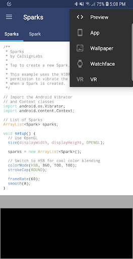 APDE - Android Processing IDE by CalsignLabs (Google Play