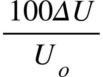 "<math xmlns=""http://www.w3.org/1998/Math/MathML""><mfrac><mrow><mn>100</mn><mi>&#x394;</mi><mi>U</mi></mrow><msub><mi>U</mi><mi>o</mi></msub></mfrac></math>"