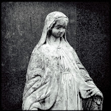 Photo: Mother Mary  I've photographed this small graveside statue a few times this past year, but I've never captured the right emotion. I set out again to capture it today. This time I brought a 50mm f/1.8 with the plan of opening it all the way to deemphasize the stone. After a couple of so-so shots, I decided to give the iPhone a try and got something that conveyed the feeling I wanted.  Shot with #hipstamatic using the Watts lens and Rock BW-11 film. I added a slight vignette in #aperture .  For my #365project curated by +Susan Porter+Simon Kitcher+Patricia dos Santos Patonand +Vesna Krnjic  And also for #sacredsunday curated by +Charles Lupica+Manfred Berndtgen+Robyn Morrisonand +Margaret Tompkins