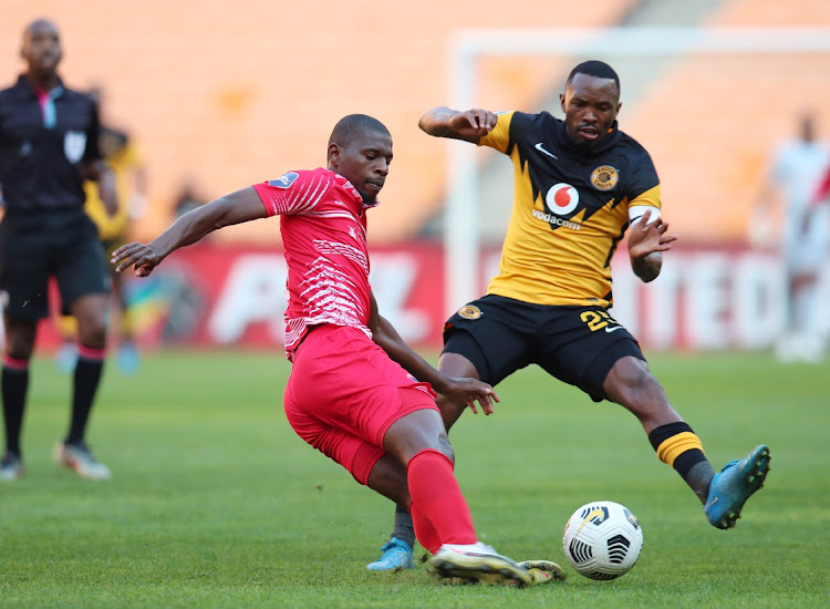 Sandile Mthethwa of Chippa United challenged by Bernard Parker of Kaizer Chiefs during the DStv Premiership 2020/21 match between Kaizer Chiefs and Chippa United at FNB Stadium in Johannesburg on the 28 April 2021.