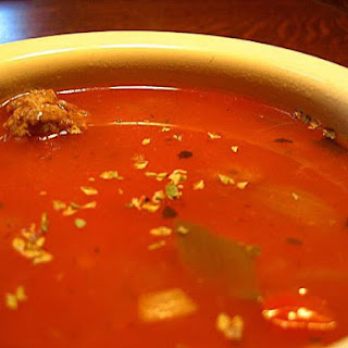 Tomato/Vegy soup with meatballs