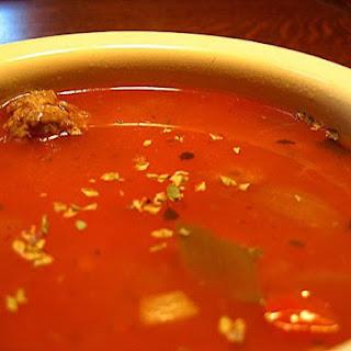 Tomato/Vegy soup with meatballs.