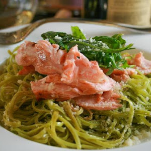 Salmon and Pasta with White Wine Sauce topped with Arugula Salad
