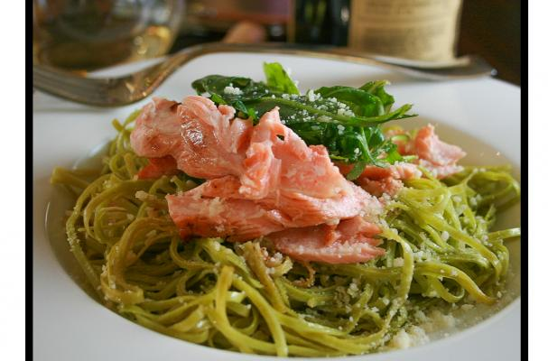 Salmon and Pasta with White Wine Sauce Topped with Arugula Salad Recipe