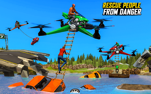 Drone Rescue Simulator: Flying Bike Transport Game android2mod screenshots 17