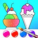 Gradient Ice Cream Coloring Book with Glitter icon