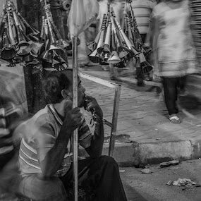 Waiting is not over yet by Subhajit Basak - Black & White Street & Candid ( black and white, street, night, festival, india, bengali, people, bengal, culture, portrait, street photography )