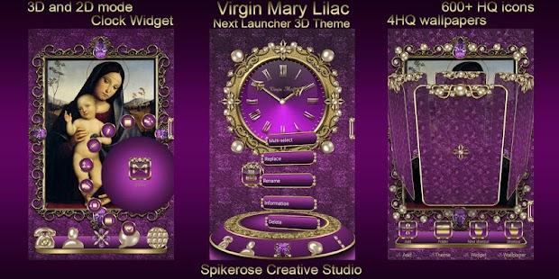 Virgin Mary Lilac 3D Next Launcher theme - náhled