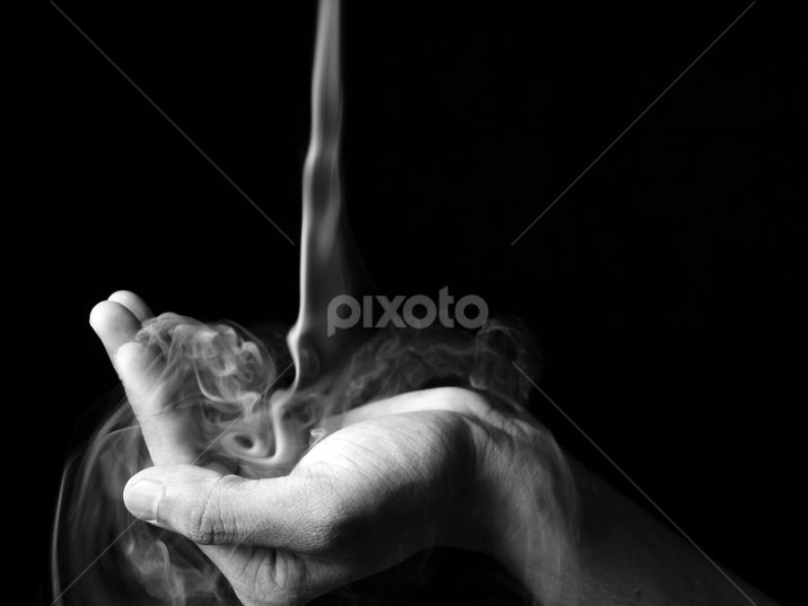 The symbol of love by Aditya Singh - Abstract Fine Art ( hand, love, black and white, art, smoke )