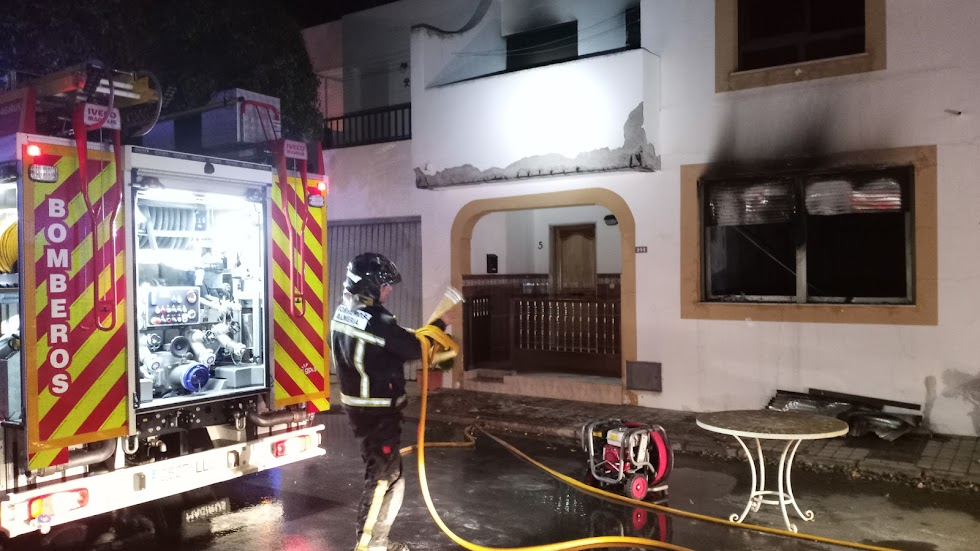 Estado de las viviendas tras el incendio.