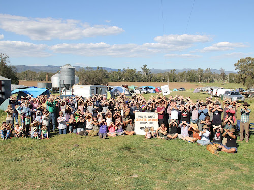 Anti fossil fuels protesters gathered at the Maules Creek protest campsite for the weekend's action.