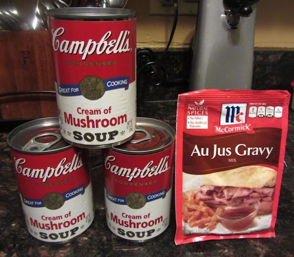 In a large mixing bowl pour your 3 cans cream of mushroom soup and...