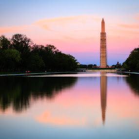 Washington Monument by Paul Judy - Travel Locations Landmarks ( reflecting pond, sunset, washington monument, monument, washington dc )