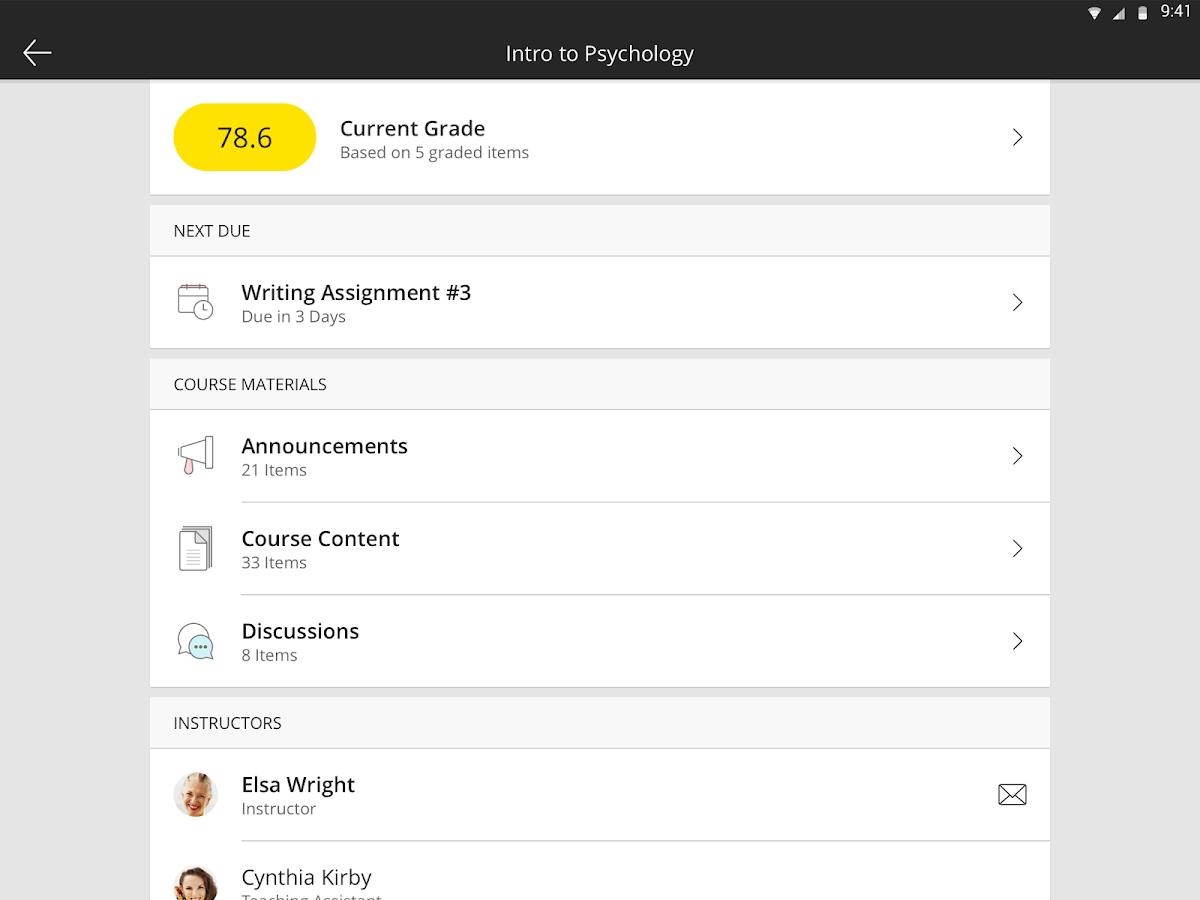 Blackboard: screenshot