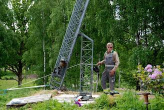 Photo: Provresning av masten. Det kom att bli många sådana innan vi var klara.