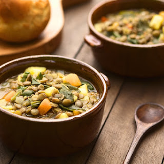 Hearty Lentil and Potato Soup with Leafy Greens.