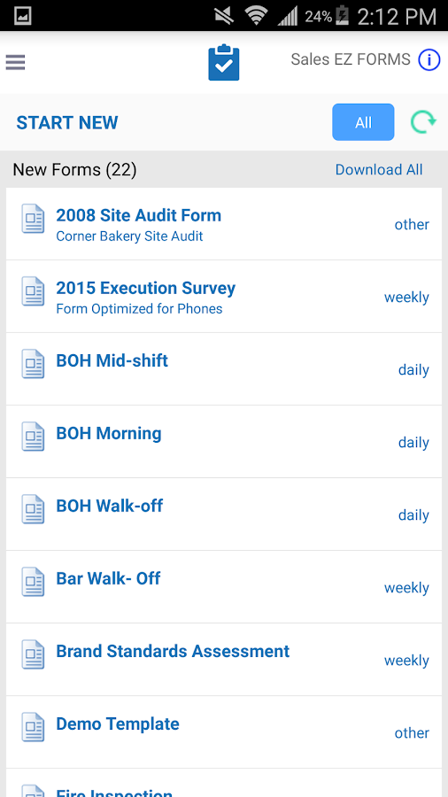 EZFORMS: Checklist & Audit- screenshot
