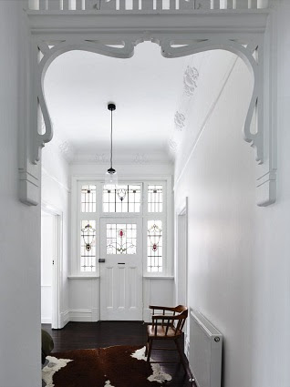 Eswardian hallway, decorative and white-painted
