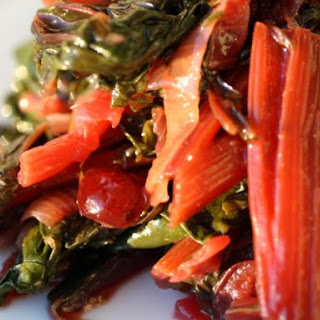 Braised Rainbow Chard with Cranberries.